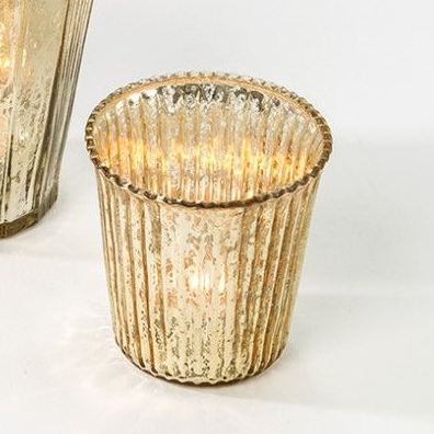 Gold Ribbed Tea Light Holder